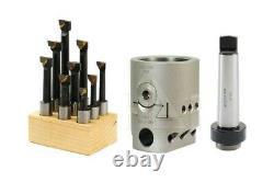 2 Boring Head + 4MT Morse Taper Tang Type Shank +9Pcs 1/2 C6 Boring Bar Set #