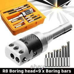 9Pcs 2 Precise R8 Boring Head R8 Shank Carbide Boring Bar Set for Milling Mach