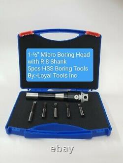 Boring Head Kit Dia 1.5 Inches + 5pcs HSS Boring Bar R8 Shank(7/16 UNF DRAWBAR)