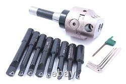 Indexable Tool Set With 3 Boring Head, R8 Shank & 8 Boring Bars (1001-0205)