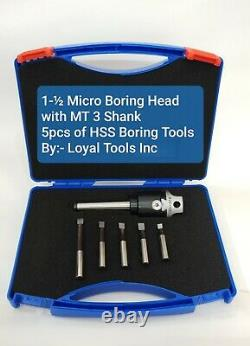 Micro Boring Head Kit 1.5 Inches Diameter MT 3 Shank with 5 pcs HSS Boring Bars