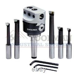 New Boring Head 50 MM with MT-3 Interchangeable Shank and Hss Boring Tools 5pcs