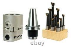 Shars 2 Boring Head withCAT 40 Shank + 9Pcs 1/2 C6 Carbide Boring Bar Set New #